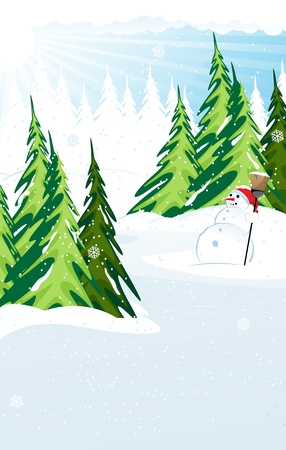 Snowman with broom in a snow covered pine forest. Winter landscape. Stock Vector - 16480450