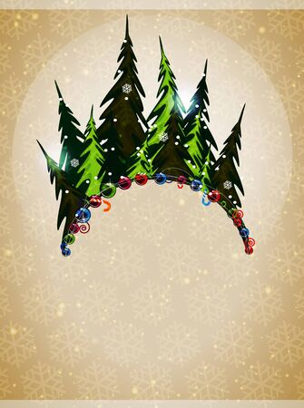 Pine forest and Christmas ornaments on a beige background with transparent snowflakes Stock Vector - 16480461