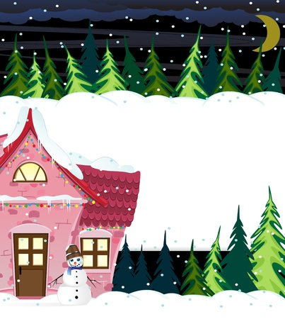 Small house with illuminated windows in night winter forest Vector