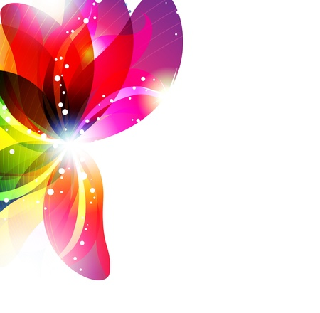 Glowing flower on a white background. Abstract floral card. Illustration