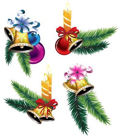 Set of Christmas decoration elements. Isolation on white background. Stock Vector - 16480486
