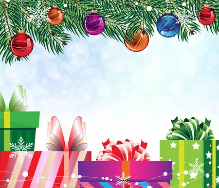 colorful gift boxes under the fir branches with Christmas decorations Vector