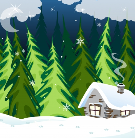 Small house with illuminated windows in the winter forest