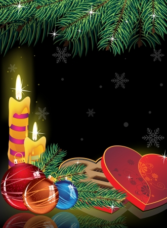 Burning candles, box of chocolates, spruce twig and Christmas decorations on a black background Vector