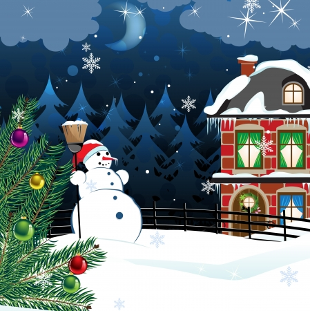 snowman with a broom and a Christmas tree in the yard of a snowcovered two-story brick house. Winter country landscape