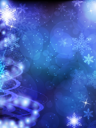 Shiny blue Christmas background with transparent snowflakes and sparks Stock Vector - 16704520