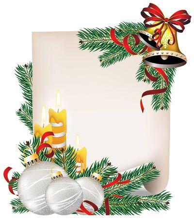 lettre de feu: Feuille de papier, bougies et des branches de sapin avec des d�corations de No�l