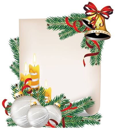 Sheet of paper, burning candles and fir tree branches with Christmas decorations   Vector