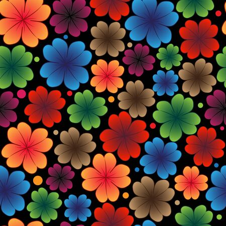 Bright flowers on a black background. Abstract seamless texture Stock Vector - 16704384