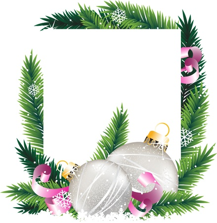 tinsel: Silver baubles, pink ribbons and fir branches on a white background. Abstract Christmas  wreath Illustration