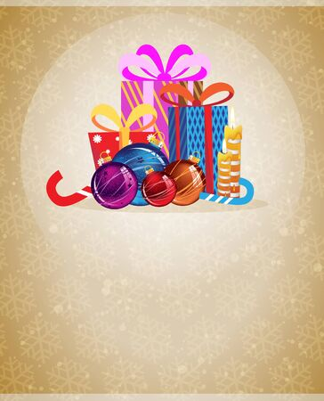 Christmas gifts and Christmas decorations on a beige background with transparent snowflakes Vector