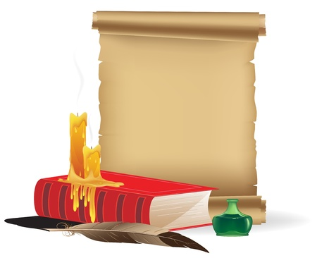 Book, candles, parchment, inkwell and a feather on a white background