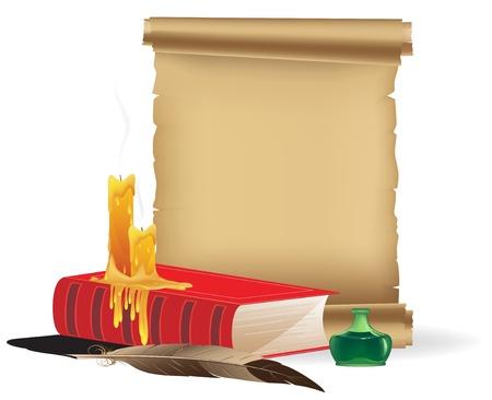 papiro: Book, candele, pergamena, calamaio e una penna su uno sfondo bianco