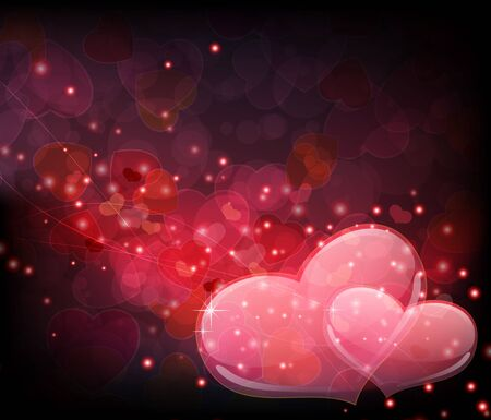 Two transparent hearts on an abstract sparkling background. Valentine's Day romantic background. Stock Vector - 16704359
