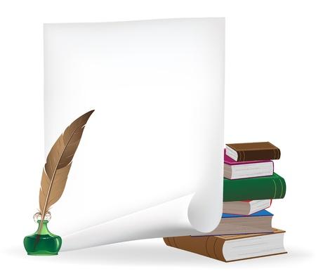 パイルの昔の本、ペーパー、インク、羽の白いシート 写真素材 - 16704379