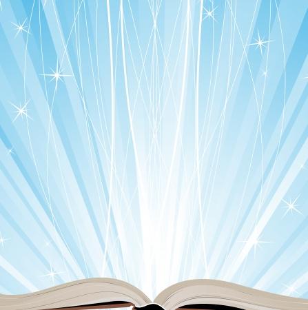 journal intime: Livre ouvert sur un fond bleu �tincelant Illustration