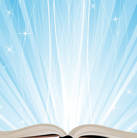 workbook: Open book on a blue sparkling background Illustration