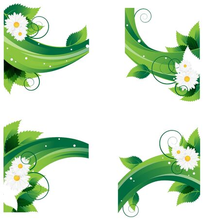 Lush foliage and daisies on an abstract wavy elements. Conceptual backgrounds. Stock Vector - 16704416