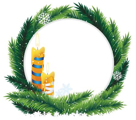Christmas wreath with burning candles on white background Stock Vector - 16704409