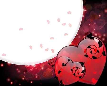 eleganz: Rote Herzen mit abstrakten floralen Elementen auf einem funkelnden Valentine Illustration