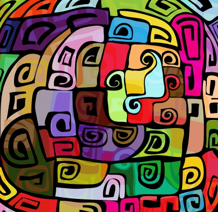 arte moderno: Modelo abstracto cobarde colorido