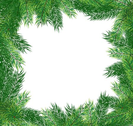 Lush fir branches on a white background  Abstract Christmas frame Stock Vector - 16704522