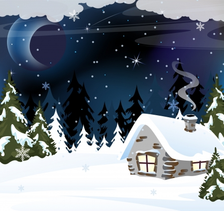 Lonely brick hut in snow-covered wood  Winter night landscape