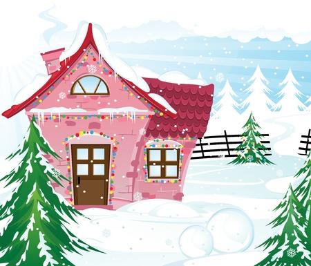 ピンクの家、雪で覆われた松林冬の風景