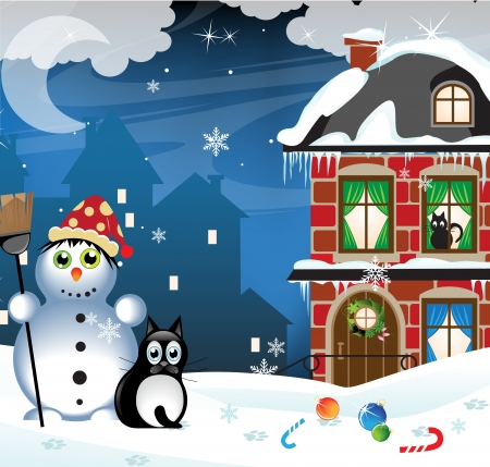 cartoon cleaner:  Snowman and vagrant cat in a snow covered city