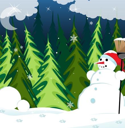 coniferous forest: Mu�eco de nieve en una gorra roja con una escoba en el bosque de con�feras invierno Vectores