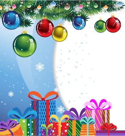 Geschenk-Boxen in bunten Verpackungen und glänzende Weihnachtskugeln auf einem blauen Hintergrund