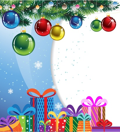Gift boxes in colorful packaging and shiny Christmas balls on a blue background