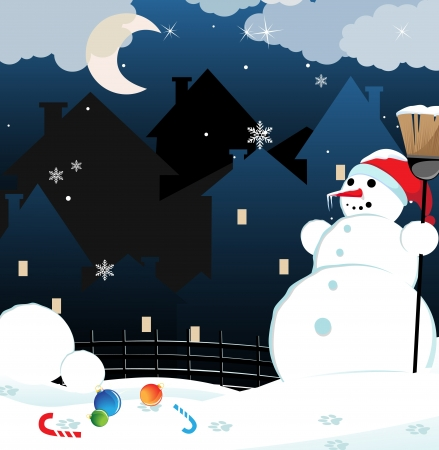 Snow man with a broom on a night city background  Vector