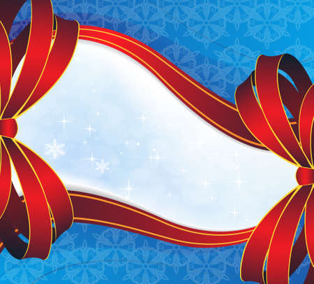 Red bows on a blue background. Christmas Greeting Card Stock Vector - 16704388