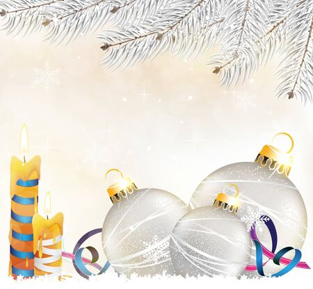 Silver christmas balls and candles on a shiny beige background Vector