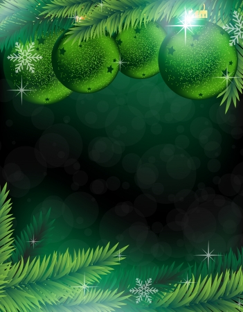 Fir tree branches with green baubles on a green  sparkling background