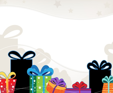 Bright Christmas gifts on a wavy beige background