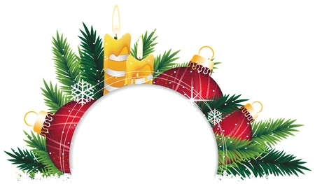 Red baubles, candle and fir branches on a white background. Abstract Christmas background Stock Vector - 16704508