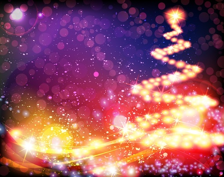 Abstract Christmas tree on sparkling background Stock Vector - 17021752