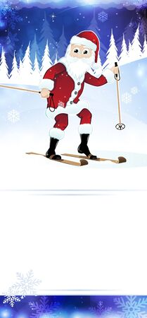 man with beard: Cheerful Santa Claus on skis in the night forest Illustration