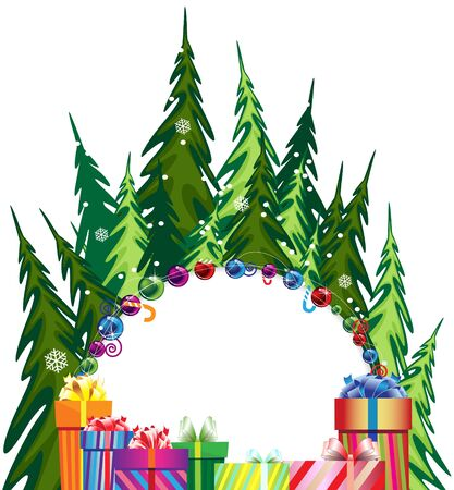 Pine forest and bright gift boxes with bows on a white background Stock Vector - 17021759