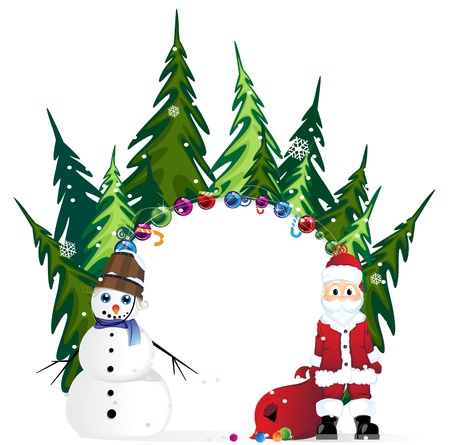 Santa Claus and snowman on a  winter forest background Stock Vector - 17021758
