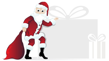 man with beard: Santa Claus with a bag and silhouettes of gift boxes