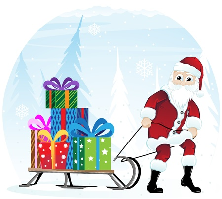 Santa Claus pulling the sleigh with bright Christmas gifts Stock Vector - 17021745
