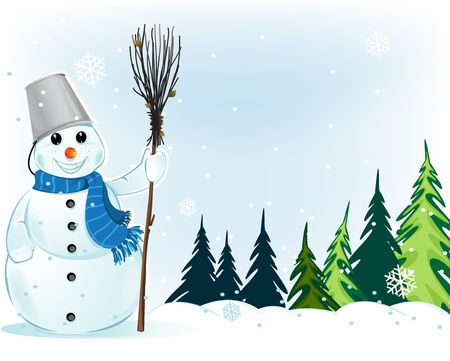Snowman with a broom in a  pine forest. Winter Landscape. Vector