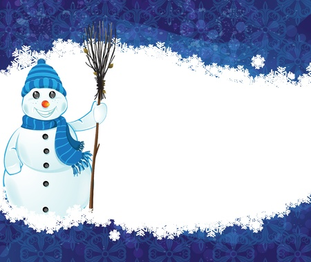 besom: Smiling snowman in a blue hat and scarf with a broom on a blue background Illustration