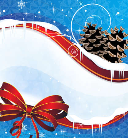 Blue winter background with pine cones and a red bow Stock Vector - 17021780