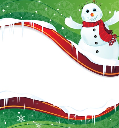 Cheerful snowman with a red scarf on a green background with place for text Stock Vector - 17021755
