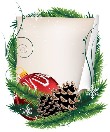 Christmas wreath with old parchment, red bauble and pine cones on a white background Stock Vector - 17021783