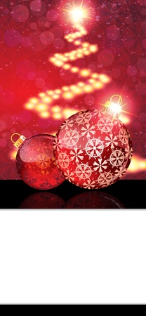 Red Christmas balls with abstract patterns on a glowing background with white place for text  Vector